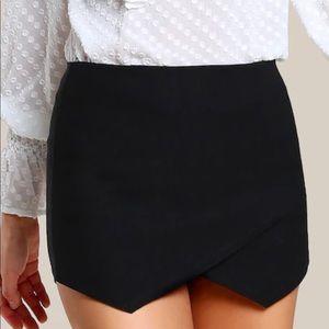 Women's Black Mini Skort Overlap Skirt
